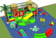 Large toddler play area. Design rendering. Small two level playground, soft play items, table and chairs, play panels, turtle puzzle mat, tic-tac-toe puzzle mat, slip and slide, tubes, mini moonwalk climb,  themed tree, jungle theming and more. Children will love this play area. www.iplayco.com