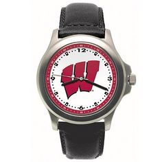 "Wisconsin Badgers Mens NCAA ""Rookie"" Watch (Leather Band) by Logo Art. $28.99. Water Resistant. 2 Year Warranty. Bold Logo On Dial. Coordinating Colored Dial Ring. Padded Leather Strap. The LogoArt ""Rookie"" model features a brushed finished case and has a bold logo on a large dial and a precision Miyota quartz movement. It has a coordinating colored dial ring and printed hour and minute marks. The ""Rookie"" comes with a padded leather strap, and is available as..."