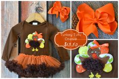 Turkey Tutu Onesie Sale:  Preorder now through 9/29/15 for 66% off retail!  Matching bow and headband available as add on!