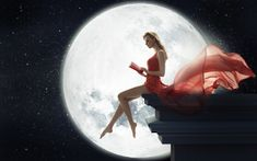 Fantasy Girl Sitting on Roof Reading Book Moon Fantasy Girl, Chica Fantasy, Fantasy Women, Good Life Quotes, Self Love Quotes, Badass Quotes, Eclipse Lunar, Scorpio Moon, Pisces Sign