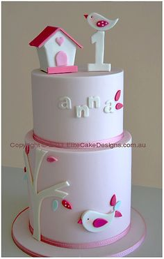 White Birdie  Christening - 1st Birthday Cake