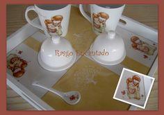 Juego desayuno para dos - Pintura sobre porcelana