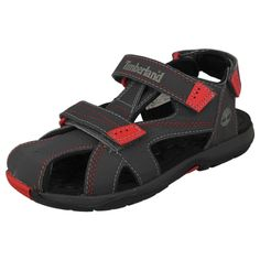 CHILDRENS TIMBERLAND VELCRO STRAP CLOSED TOE SANDALS IN GREY - STYLE - 43790