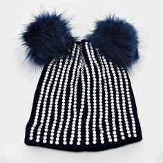 2a5522cb0aa Double Pom Pom Crystal Knit Beanie Hat - Navy