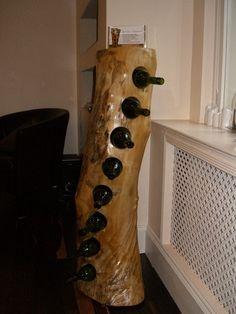 barn wood wine rack | Log wine rack | Barn wood ideas