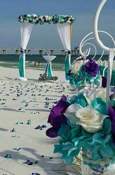 Beach wedding, purple and turquoise!