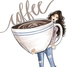 Grab your trial of Smart Happy Coffee! Happy Coffee, Coffee Girl, I Love Coffee, Big Cup Of Coffee, Black Coffee, Illustration Mode, Coffee Illustration, Illustrations, Coffee Cafe