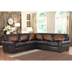 $2400 107 x 107 Casey Top Grain Leather Sectional 8.9 feet long