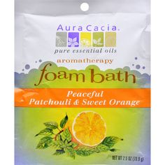 Aura Cacia Foam Bath Peaceful Patchouli and Sweet Orange - 2.5 oz - Case of 6 - Aura Cacia Foam Bath Peaceful Patchouli and Sweet Orange Description: Love , Peace and Happiness Aromatherapy Foam Baths come in five aromas, each with its own distinctive and attractive package. The multi-colored Patchouli/Sweet Orange package is reminiscent of the 60s and whimsically offers the benefits of love, peace and happiness. The other aromas and their benefits are Tangerine/Grapefruit (refreshing and…