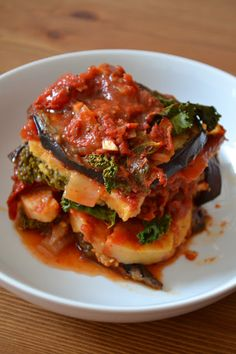 Vegan Polenta, Kale, and Eggplant Casserole