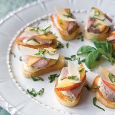 Pork Crostini with Peach Pesto