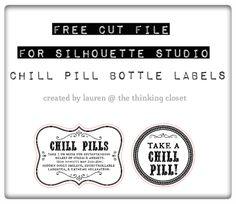 FREE Silhouette Studio Cut File for Chill Pill Bottle Labels. A fun gag gift idea via thinkingcloset.com!