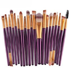 Kingfansion 20 pcs Makeup Brush Set tools Make-up Toiletry Kit Wool Make Up Brush Set (Gold) *** More info could be found at the image url. (Note:Amazon affiliate link)