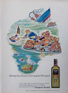 Passport Scotch Whiskey  70 s print ad  Color Illustration   ship sinking  1971 magazine art