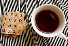 Fun DIY Projects for the Home - Easy Do It Yourself Coasters from Scrabble Tiles - DIY Projects & Crafts by DIY JOY at http://diyjoy.com/quick-diy-projects-fast-crafts-ideas