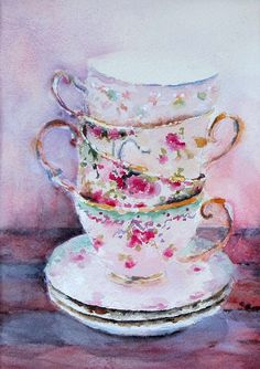 Teacup painting watercolor painting print giclée 5 di PatChoffrut