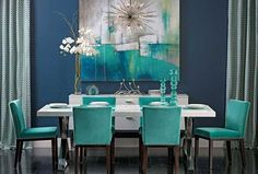 Colors of Nature: 22 Turquoise Interior Design Ideas Turquoise Home Decor, Turquoise Dining Room, Turquoise Chair, Turquoise Kitchen, Turquoise Accents, Peacock Dining Room, Turquoise Decorations, Navy Blue Dining Chairs, White Gloss Dining Table