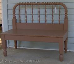 spool headboard upcyled into a bench