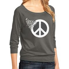 Peace Sign T-Shirt Ladies Gift for Her Peace Love Hippie Coexist ($21) ❤ liked on Polyvore featuring tops, t-shirts, black, women's clothing, hippie tops, hipster t shirts, raglan tee, 3/4 sleeve t shirts and hipster tops