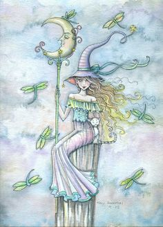 Art: Pale Lunar Witch by Artist Molly Harrison Halloween Images, Halloween Witches, Halloween Ideas, Happy Halloween, Unicorns And Mermaids, Witch Cat, Artist Portfolio, Fairy Art, Artist At Work