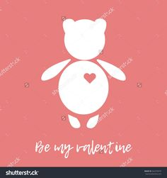 Happy Valentine's Day. White teddy bear with red heart on a pink background. Be my valentine. Greeting card.