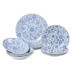 Caravan Trail 12 piece Earthenware Penzance Dinnerset , Blue