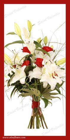 Bouquet Saint Valentin Roses Lys Aloefleurs.com