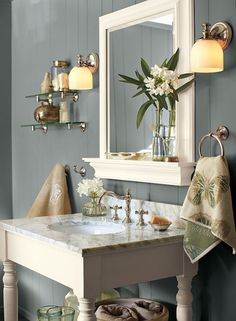 A classic gray bathroom. Puritan gray and white dove trim by Benjamin Moore - guest bathroom color