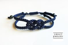Laraco Jewellery Navy Sailor's Double Knot by LaracoJewellery Macrame Bracelets, Handmade Bracelets, Handmade Jewelry, Navy Sailor, Macrame Design, Macrame Jewelry, Bleu Marine, Anklets, Bracelet Making
