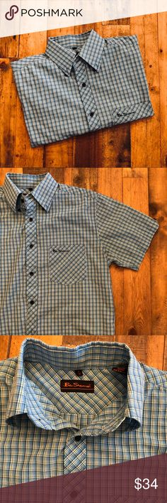 """BEN SHERMAN Short Sleeve Button Down EUC, blue/green/black/white plaid with black logo buttons, single chest pocket with embroidered logo, 55/45 cotton/poly, extra buttons still attached at tag, single detail button on each sleeve, Ben Sherman size 2/M Chest: 21"""" Length: 24"""" at sides/27"""" front/back Ben Sherman Shirts Casual Button Down Shirts"""