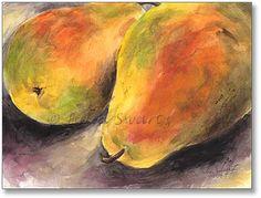 Two Pears Watercolor Painting - Julia Swartz Art Gallery