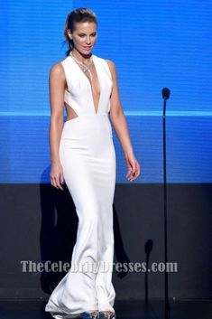 682f9e1e5f Kate Beckinsale Sexy White Evening Gown 2014 American Music Awards