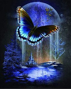 Full Drill Diamond Painting Kit for Beginners, BENBO DIY Butterfly Moon Diamond Painting by Number Kits Cross Stitch Crystal Rhinestone Embroidery Arts Craft for Home Wall Decor, X Beautiful Nature Wallpaper, Beautiful Moon, Butterfly Pictures, Butterfly Art, Butterfly Painting, Butterfly Wallpaper Iphone, Butterfly Background, Pretty Wallpapers, Moon Art