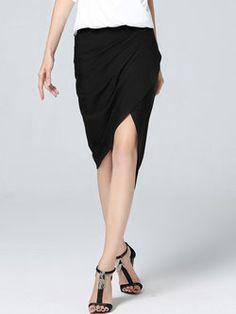 Black Simple Asymmetrical Midi Skirt