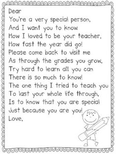Student Gifts Discover 26 Fun and Memorable End of the School Year Celebration Ideas Teach Junkie: 26 Fun and Memorable End of the School Year Celebration Ideas - Teacher Gift Poem Pre K Graduation, Kindergarten Graduation, Kindergarten Classroom, Classroom Activities, Classroom Ideas, Graduation Poems For Preschool, Graduation Ideas, End Of School Year, School Fun