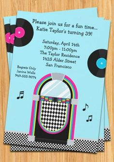 50's Party Invitation Juke Box