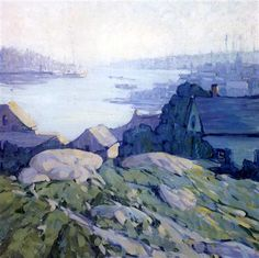 """""""Quiet Harbor, Gloucester,"""" Jane Peterson, 1922, oil on canvas, 32 x 32"""", private collection."""