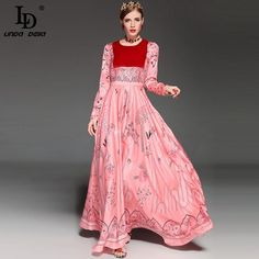 FuzWeb:High Quality New Runway Maxi Dress Women's Elegant Long Sleeve Velvet Patchwork Print Long Dress
