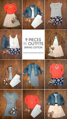 9 Pieces, 11 Outfits - Spring Packing 2015 - Putting Me Together Putting Me Together: 9 Pieces, 11 Outfits - Spring 2015 Style Work, Mode Style, Summer Wardrobe, Capsule Wardrobe, Travel Wardrobe, Spring Summer Fashion, Spring Outfits, Spring 2015, Looks Teen