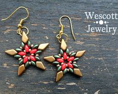 Christmas SuperDuo Star Earrings with Bright Coral Red and Evergreen SuperDuos and Matte Gold Kite Beads and Gold Japanese Seed Beads