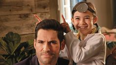 Lucifer and Trixie // Tom Ellis I want a little sister like this Lucifer 3, Tom Ellis Lucifer, Series Movies, Tv Series, Dan Stevens, Morning Star, Film Serie, Scene Photo, Best Tv