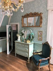 My Miniature Madness: New Orleans Dollhouse Furniture, Teal Walls, Living Room Paint, Dolls House Interiors, Teal Wall Colors, Home Furniture, House Interior, Messy Bed, Barbie Furniture