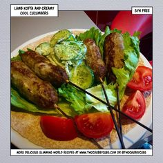 These lamb kofta sticks are easy to make and taste just like a takeaway! Lamb mince is hard to find, but find and enjoy this Slimming World dinner! Lamb Koftas, Mint Sauce, Creamy Cucumbers, Get Thin, Cheesy Sauce, Healthy Eating Recipes, Healthy Meals, Slimming World Recipes, Food Hacks