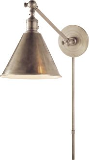 "BOSTON FUNCTIONAL LIBRARY WALL LIGHT; $315; Height: 25"" Backplate: 4 3/4"" Round Extension: 25"" Shade: 2"" x 7"" x 5"" Wattage: 1 - 60 Watt Type A"