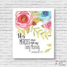 Lamentations 3:23 Scripture Wall Art His by BloomAndWillowPrints