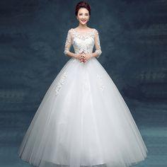 Wedding dress bride 2017 new wedding long-sleeved word shoulder large size pregnant women high waist Korean spring