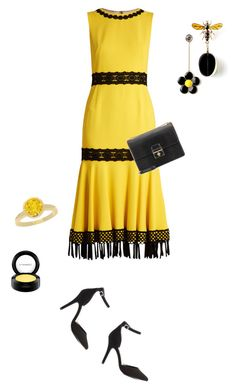 """In La La Land: Yellow Dresses"" by anyasdesigns ❤ liked on Polyvore featuring Dolce&Gabbana, Charlotte Russe, NEXTE Jewelry and MAC Cosmetics"