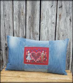 Handkraft & Återbruk - Boho Diy, Boho Decor, Jeans Refashion, Denim Jeans, Throw Pillows, Tips, Velvet, Toss Pillows, Cushions