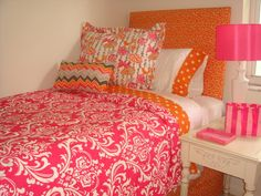 pink and orange dorm room bedding.So me . totes jelli ,