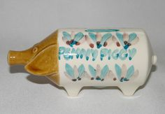 Vtg c70s John Clappison (Hornsea) medium Penny Piggy bank, Scarborough Pottery